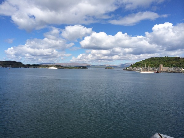 View from the ferry heading out of Oban towards the island of Mull
