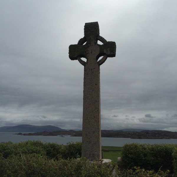 Celtic cross outside of the Abbey
